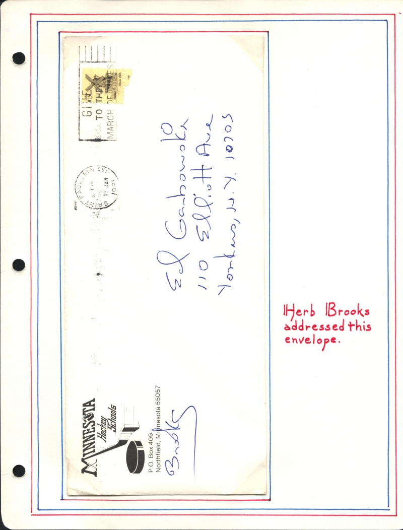 Herb Brooks Envelope Autograph